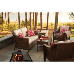 From Target, Threshold™ Rolston Wicker Patio Furniture Collection.  This collection has a number of interesting pieces that can be mixed together.