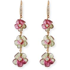 Rina Limor Floral Tourmaline Drop Earrings with Diamonds CiZh2M1Q