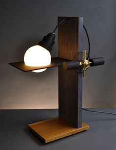 Marie Claire-Cantilever table lamp. Designed and handmade by Art Donovan.
