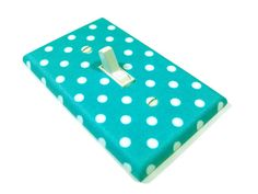Teal  and White Polka Dot Light Switch Cover Nursery Decor Teen Girls Bedroom Switchplate Switch Plate on Etsy, $80.00 HKD