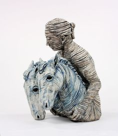 """American artist Adrian Arleo's glazed ceramic sculpture """"Lead (Woman with Two Horse Heads,"""" 2002"""