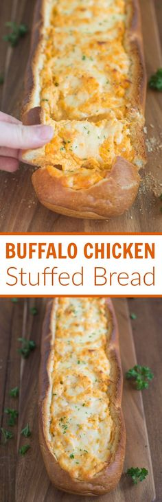 Buffalo Chicken Stuffed Bread – Crusty artisan bread filled with buffalo chicken dip is a perfect party or game day appetizer.| Tastes Better From Scratch