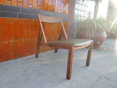 Danish Modern Wood Occasional Chair with Leather Seat Los Angeles by HouseCandyLA, $199.00