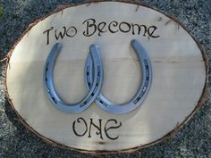 Plaque with Horseshoes - Wedding gift - Wedding Signs - Love gifts - Gifts for Newlyweds - Newlywed Gift - Newlywed Sign - Horseshoe Wood Plaque with Horse Shoes - Country Western Home DecorWood Plaque with Horse Shoes - Country Western Home Decor Horseshoe Projects, Horseshoe Crafts, Horseshoe Art, Horseshoe Ideas, Horseshoe Wedding, Horse Wedding, Wedding Ideas With Horses, Western Wedding Ideas, Horseshoe Wreath