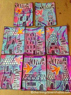 The Gypsy Owl Art Co.: Gelli Print Artist Trading Cards