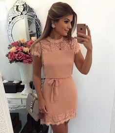 Sweet nude dress and grey bag Casual Dresses, Short Dresses, Fashion Dresses, Summer Dresses, Nude Dress Outfits, Pretty Dresses, Beautiful Dresses, Dress Skirt, Dress Up