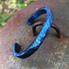 Titanium cuff bracelet with textured blue finish. Titanium Jewelry, Titanium Rings, Fashion Bracelets, Bangle Bracelets, Custom Jewelry, Handmade Jewelry, Heart Shaped Rings, Stylish Jewelry, Silver Jewelry