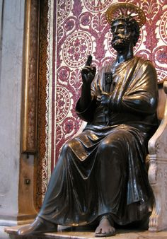 Rome's Top 10: Vatican City - Statue of St Peter.  A holdover from the medieval St Peter's, this 13th-century bronze statue by the sculptor Arnolfo di Cambio has achieved holy status. The faithful can be seen lining up to rub (or kiss) Peter's well-worn foot for luck.