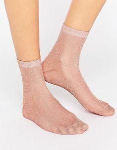 ASOS Rose Gold Glitter Socks