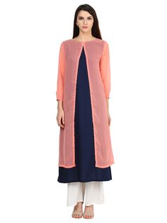 This Navy Blue coloured kurta from Castle a true traditional style. Made from Rayon and gorged fabric, this kurta will ensure a comfortable and flowy fit. Complement this kurta with Palazzo and heels to look classy.