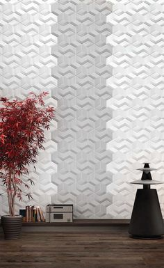 Wall Feature. Decorative Tiles With 3D Motif and Color Accent The Versatile Collection From Kutahya. Interlocking Pattern 3d Wall Panel Feature Gray Color Accent In White Color 3d Wall Feature. 3d Decorative Wall Tiles. 3d Wall Feature. 3d Surfaces Wall Panel. Wall Panel With Color Accent. Contemporary Wall Decoration. Triangle Inspired Interlocking Wall Panel Pattern