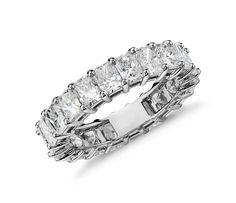 Brilliant in every way, this diamond eternity ring features nineteen perfectly matched asscher-cut diamonds that are set in enduring platinum. Asscher Cut Diamond, Radiant Cut Diamond, Diamond Rings, Diamond Jewelry, Sapphire Eternity Ring, Eternity Bands, Womens Wedding Bands, Wedding Rings For Women, Blue Nile Jewelry