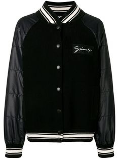 Shop online black Givenchy ribbed panel bomber jacket as well as new season, new arrivals daily. Varsity Jacket Outfit, Mens Outdoor Jackets, Black Bomber Jacket, French Fashion, Size Clothing, Casual Looks, Women Wear, Fashion Looks, My Style