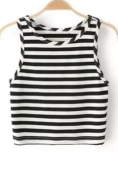 Striped Round Collar Cropped Tank Top