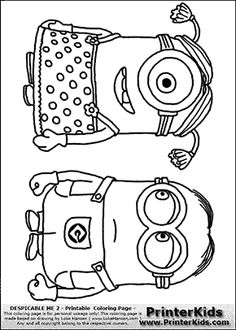 Despicable Me 2 - Minion #8 Two Minions Standing - Coloring Page