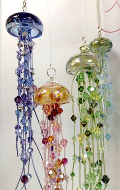 our jellyfish drop in bead treat!  ever made something like this in a make 'n take? whoo! this is beautiful - thanks to our friend, bebe, who made it and taught it so easily!
