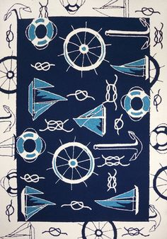 Blue & White Nautical Area Rug