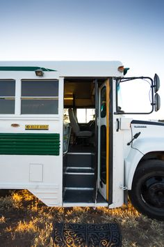 "Outside Found ""Skoolie"" school bus conversion exterior"