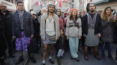 Groups of men in Turkey are wearing skirts to protest against violence towards women, after a student was murdered.