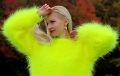 Hand knitted neon yellow mohair sweater fuzzy handmade soft pullover SUPERTANYA #SuperTanya #Crewneck