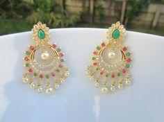 Emerald and Ruby Chandbali Pearl Chaandbalis Indian by Alankaar