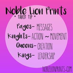 Court Card Quick Reference Visit http://www.noblelionprints.com for more tarot tips!
