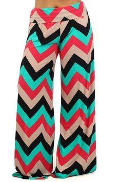Celeb Style Chevron Zig Zag Geometric Palazzo pants wide leg Coral & Tan & Mint #CasualPants