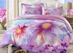Dazzling Flower Print 4-Piece Cotton Duvet Cover Sets
