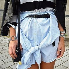 Who says button-downs need to be shirts? With a bit of styling, it's now a shirt-skirt.