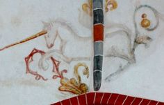 Unicorn. Mural from the 15c in Church of John the Baptist, Huizinge