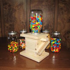 Handmade Wooden Mason Jar Candy & Snack Dispenser - Natural Wood - Two Orientations - Pull or Push Dispenser Bar - Fun For All Ages Mason Jar Candy, Mason Jar Crafts, Mason Jars, Mason Jar Dispenser, Candy Dispenser, Custom Woodworking, Woodworking Projects Plans, Bubble Gum Machine, Kids Wood