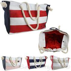 XL Strandtasche Beach Tasche Kordel groß Streifen gestreift Maritim Seil T023   eBay