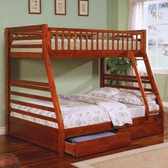 Furniture & Design :: Bedroom furniture :: Bedroom Sets :: Bunk Bed Sets :: California II Cherry Wood Finish Mission Style Twin over Full Bunk Bed with Front Access Ladder with 2 Under bed Drawers