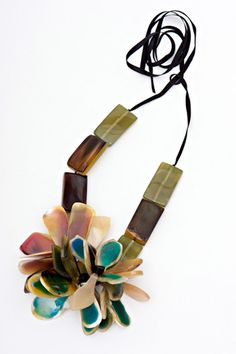 Marni Horn and Resin Floral Necklace