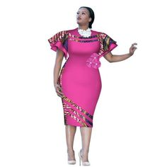 Customized African Print ClothingRuffle Sleeve Knee Dress Summer Women Party Dresses Plus Size African Clothing BRW