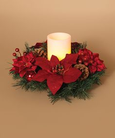 Loving this Red Poinsettia, Berries And Pinecone Wreath & Timer LED Candle, on #zulily! #zulilyfinds