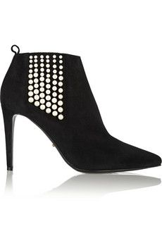 Sergio Rossi Faux pearl-embellished suede ankle boots | NET-A-PORTER