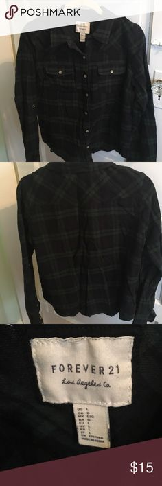 F21 Flannel Forever21 Blue/green flannel with snap buttons #forever21 #f21 Forever 21 Tops Tees - Long Sleeve