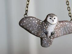 {Sooty owl in flight necklace} HandyMaiden