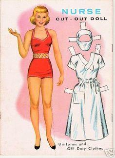Vintage uncut 1964 nurse paper dolls~free shipping~#1 repro~rare 1964 set