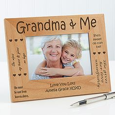 Personalized Grandparents Wood 4x6 Picture Frame - Ladies Gifts