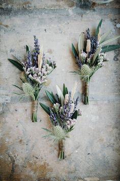 Lavender & Thistle Wedding Buttonholes