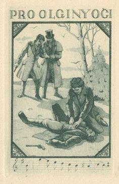 Ex libris Exlibris Homage A. Pushkin, ONEGIN by KULHANEK STANISLAV/1885–1970/cze: