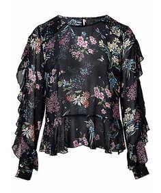 Black Kaileigh M Vantini Wrap Blouse Size 10 (M) Stitch Fix Outfits, Stitch Fix Fall, Chiffon, Ladies Gents, Heine, Wrap Blouse, Trends, Luxury Fashion, Personal Style
