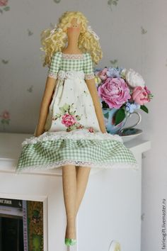 Купить Тильда Люсиль - салатовый, тильда, тильда кукла, кукла Тильда, тильда ангел