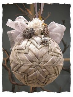 Christmas Quilted Ball Ornament Georgette by KatarzynaAnia on Etsy, $32.00