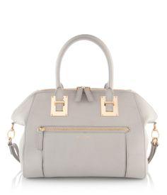 Whitney Satchel in light grey cowhide leather | New Arrivals | Henri Bendel, $450