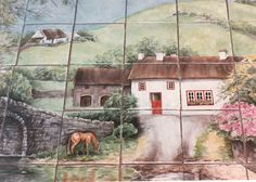 """Irish Cottage""  An idyllic landscape and quaint cottage scene. As peaceful and serene as the ""White O' Morn"" from ""The Quiet Man"" movie.  Custom designed decorative backsplash tile mural.  Hand painted on 6 x 6 inch glazed clay tiles."