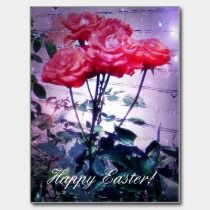 Happy Easter Red Roses Postcard postcards