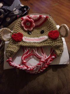Valentine sock monkey hat